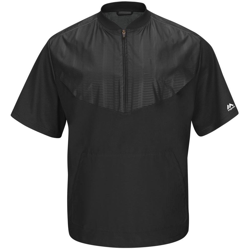 Majestic Youth Cool Base半袖トレーニングジャケット B015G71VBS Medium|ブラック/グレー ブラック/グレー Medium