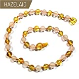 Hazelaid (TM) 14'' Pop-Clasp Baltic Amber & Gemstone: Lemon & Rose Quartz