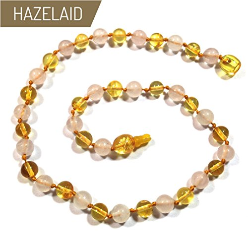Hazelaid (TM) 14'' Pop-Clasp Baltic Amber & Gemstone: Lemon & Rose Quartz by Hazelaid