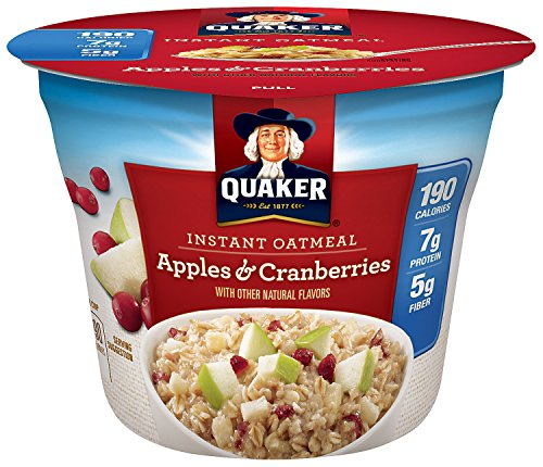 Quaker Instant Oatmeal Express Cups, Apples & Cranberries, Breakfast Cereal, 12 Cups