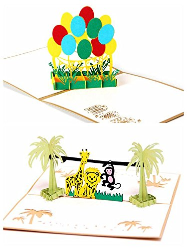 Amazon 2pcs handmade 3d pop up birthday cards creative 2pcs handmade 3d pop up birthday cards creative greeting cards childrens birthday cards for kids m4hsunfo