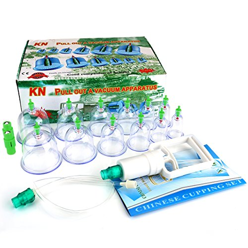 KN 12 Cups Chinese Traditional Medical Healthy Body Vacuum Acupuncture Cupping Suction Therapy Body Massager Deep Tissue Muscle Relaxer Set