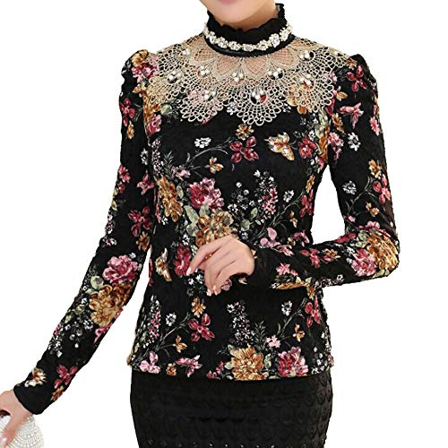 e83f00e3398 SansoiSan Women Winter Hollow Out Floral Print Lace Long Sleeve Elegant Blouse  Plus Size