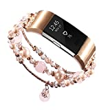 Fitbit Charge 2 Bands - Dressy Bling Rhinestone Faux crystal Pearls Gems Elastic Watch Bracelet Wrist Strap Replacement Accessories for Fitbit Fitness Sport Smart Watch for Women Girls (Pink)