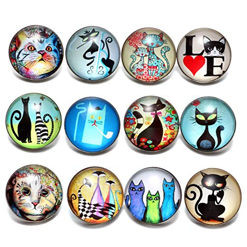 Soleebee 12 pcs Round Aluminum Glass 18mm Snap Button Jewelry Charms for Interchangeable Snaps Jewelry Making (Love Cat)