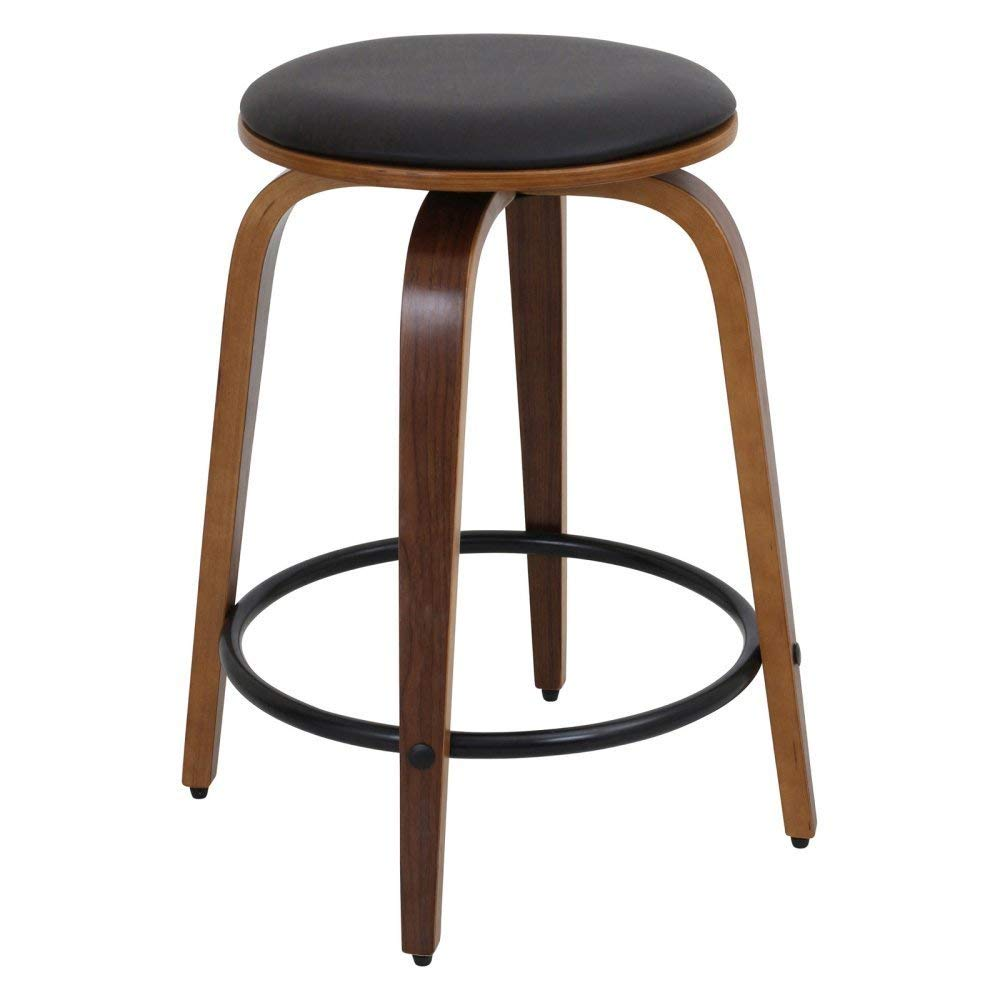 WOYBR Wood, Pu, Chrome Porto Counter Stools Set of 2
