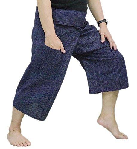 - Thai Fisherman Pants Yoga Trousers Free Size 3/4 Cotton Stripe-Dark Navy Blue