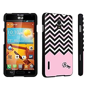 DuroCase ? LG Optimus F7 US780 / LG870 Hard Case Black - (Black Pink White Chevron B) by icecream design