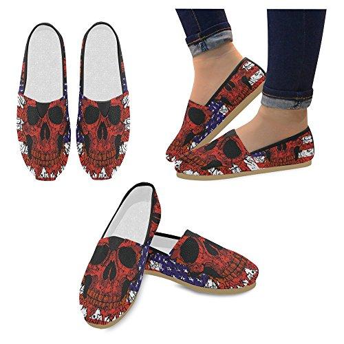Interestprint Mujeres Loafers Classic Casual Slip De Lona En Los Zapatos De Moda Sneakers Mary Jane Flat American Flag Skull