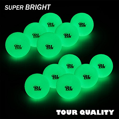 R&L Night Golf Balls Glow in the Dark - Tournament Fluorescent Golf Ball- Long Lasting Bright Luminous Balls Rechargeable with Sunlight or UV Flashlight - Included (12 (Glow Balls Golf)