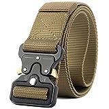 Valpeak Military Tactical Belt Quick Release Buckle Nylon Gun Belt for Concealed Carry Heavy Duty Holster, 1.5 inch Web Cobra Men (Tan, M)