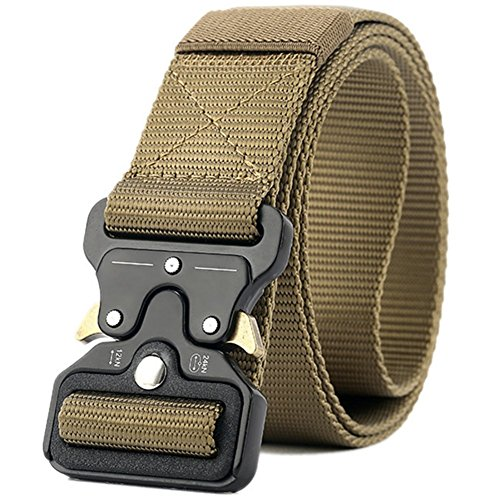 Valpeak Mens Tactical Belt Military Nylon Gun Belts Concealed Carry Heavy Duty Quick Release Buckle Riggers 1.5 inch (Coyote, M)