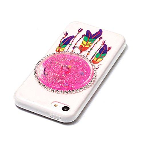 Funda iPhone 5C AllDo Carcasa de Arena Movediza Brillante Funda de Gel TPU Carcasa Líquida Flotante Sparkling Glitter Case Cover Funda Flexible Suave Carcasa Delgado Ligero Caja Dinámica de Bling con  Rosa