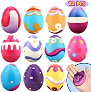 12 PCS Easter Eggs - 2.3 inch Squishies Toys Slow Rising Squishy Easter Hunt Egg - Party Favor Gifts for Easter