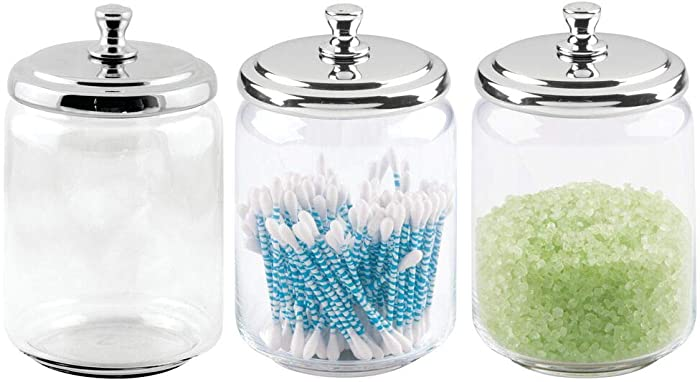 mDesign Modern Glass Bathroom Vanity Countertop Storage Organizer Canister Apothecary Jar for Cotton Swabs, Rounds, Balls, Makeup Sponges, Bath Salts - 3 Pack - Clear/Chrome