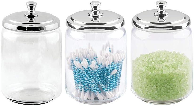 mDesign Juego de 3 tarros de cristal (grandes) – Dispensador de discos de algodón – Contenedor de bastoncillos y sales de baño – Botes de cristal con práctica tapa metálica – transparente/plateado: Amazon.es: Hogar