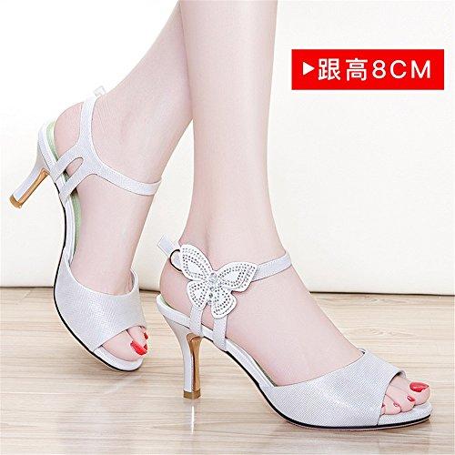 De Zapatos Color Baotou Versátiles Huahua con De Pescado Y Bien Sandalias De De Ranurados Tacón Mujer Y Amarre Zapatos Mujer 1 Boca x7zBq1wY