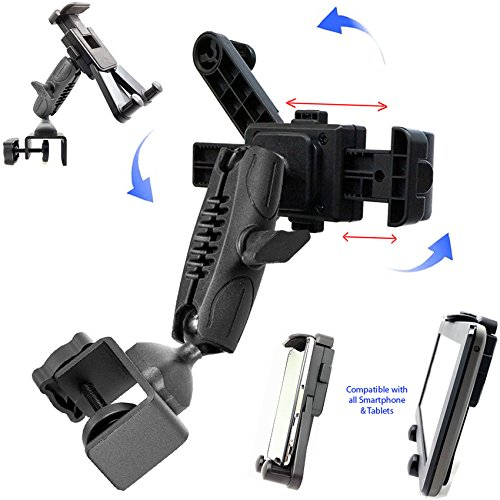 Dual Joint Rotate Adjust Pole//Bar Metal C-Clamp Podium Orchestra Music Mic Microphone Stand Mount for Tablet Apple iPad Air Mini Samsung Galaxy Tab E S A Surface /& iPhone X 8 7 XR XS MAX Smartphone