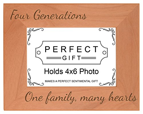 Gifts For All By Rachel Olevia Four Generations One Family Many Hearts Natural Wood Engraved 4x6 Landscape Picture Frame Wood