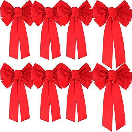 (Boao Red Velvet Bow Christmas Holiday Bows for Party Wreaths Decoration, 2 Sizes, 8 Pieces Totally)