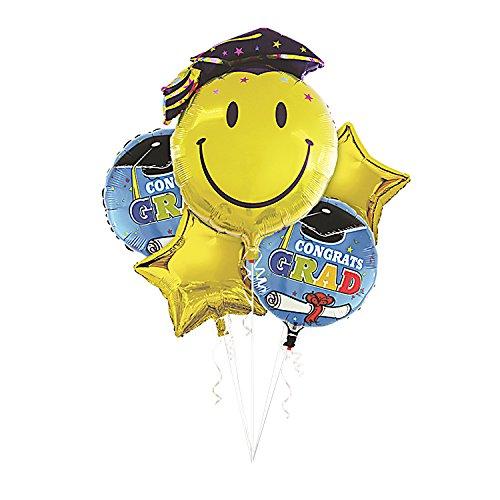 Mosoan Graduation Mylar Balloons Bulk | Graduation Foil Balloons | Graduation Emoji Balloons | Gold Star Balloons | Congrats Grad Balloons | Large Size, -