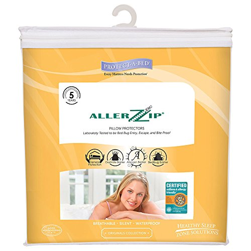 Protect-A-Bed AllerZip Smooth Waterproof Pillow Protector, Queen 21x31, Pack/2