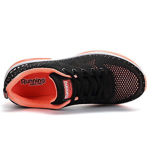 Basse Outdoor arancione Sportive Basket Sport Fitness Running Mesh da Ginnastica Sneakers nero Respirabile Scarpe Donna Uomo JEDVOO qwzB8ZPx