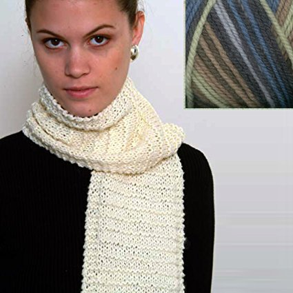 """Beginner's Scarf"" Knit Kit with Encore Worsted COLORSPUN Yarn – DENIM OMBRE"