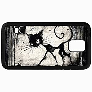 Customized Cellphone Case Back Cover For Samsung Galaxy S5, Protective Hardshell Case Personalized A Gothic Kind Of Cat Black