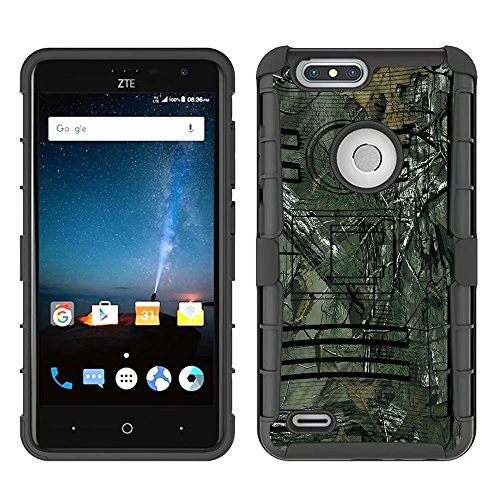 (Z982 Case, ZTE Blade Z Max Case,ZTE Blade Zmax Pro 2 Case,ZTE Sequoia Case, FOLICE Hybrid Full-Body Protective Case Cover with Kickstand & Belt Clip Holster Combo for ZTE Z982 (CAMO))