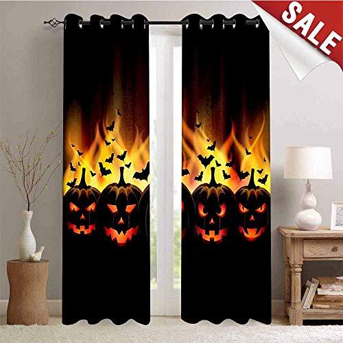 Hengshu Happy Halloween Image with Jack o Lanterns on Fire with Bats HolidayBlack -