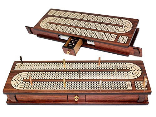 House of Cribbage - Continuous Cribbage Board Inlaid 4 Tracks Rosewood/Maple with Sliding Lids and Drawer (Continuous Track Cribbage Board)
