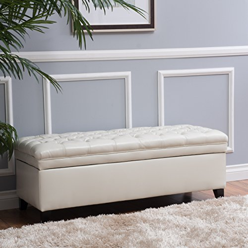 Laguna Tufted Fabric Rectangular Storage Ottoman, Modern Bench for Home Organization, Ivory