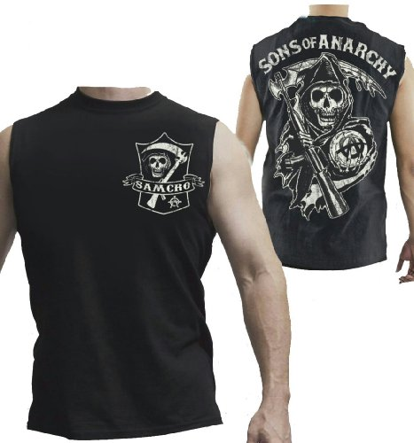 Sons of Anarchy Men's Reaper Shield Muscle Tank Top, Black, XL -