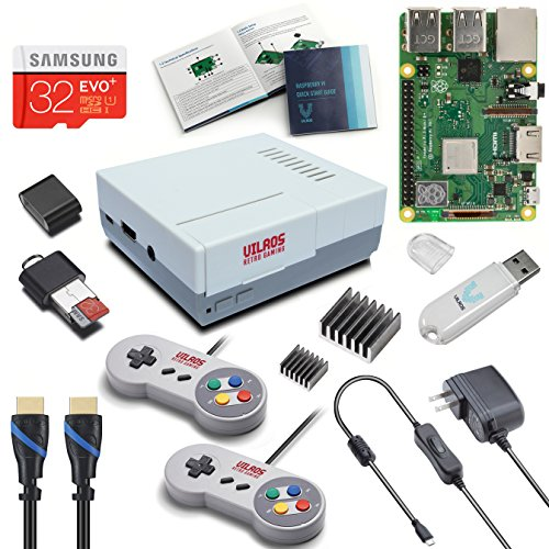 V-Kits Raspberry Pi 3 Model B+ (B Plus) Retro Arcade Gaming Kit with 2 Classic USB Gamepads [2018 Model]