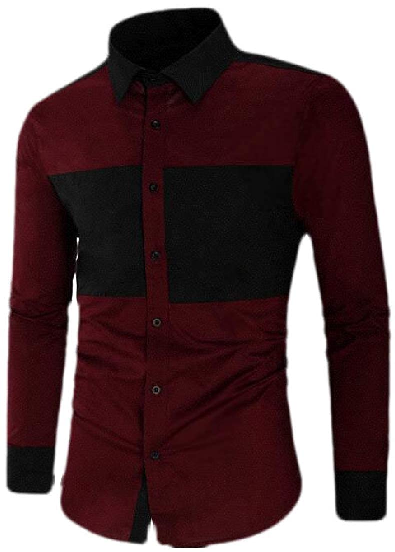 Hajotrawa Mens Long Sleeve Casual Contrast Color Autumn Slim Fit Button Down Shirts