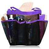 Quick Dry Hanging Toiletry and Bath Organizer with 8 Storage Compartments, Shower Tote, Mesh Shower Caddy, Perfect Dorm, Gym, Camp & Travel Tote Bag, Purple
