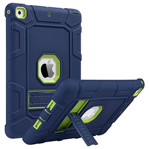 (ULAK iPad 6th Generation Case, iPad 2018 Case, iPad 9.7 inch Case, Three Layer Heavy Duty Shockproof Protective Case Kickstand Soft Silicone Cover for Kids Apple iPad 9.7 2017/2018 Navy Blue/Green)