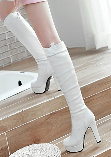 Femme Talon Aisun Haut Hautes Cuissardes Elégant Bottes Blanc Genou qEwUw47fx