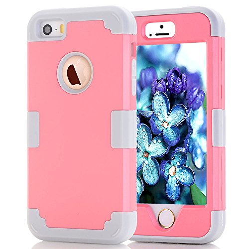 iPhone SE Case, iPhone 5s Case,JDBRUIAN 3in1 Shield Series Heavy Duty Hybrid Hard PC Soft Silicone Combo Hybrid Defender High Impact Body Armor box Case for Apple iPhone 5 5S SE (Pink/Gray)