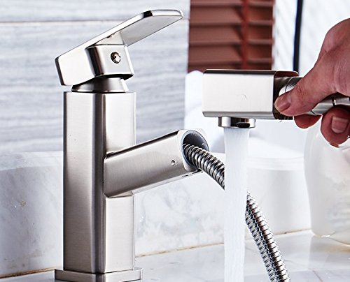 LSRHT Basin Taps Mixer Kitchen Sink Faucet Copper Pull Out Hot and Cold Wash Basin Bathroom  Chrome Bathroom accessories