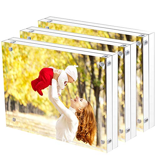Sooyee 3 Pack 4X6 Acrylic Frames, Clear,Magnetic Photo Frame, Double Sided Frameless Standing in Desktop Picture Display(10 + 10MM Thickness)