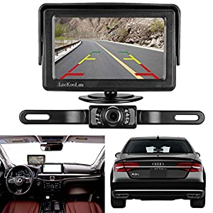 LeeKooLuu Backup Camera and Monitor Kit for Car/Vehicle/Truck Waterproof Night Vision License Plate Rear View Camera Connecting Single Power Reverse/Continuous Use Optional 4.3 Display Grid Lines