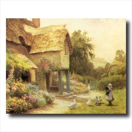 Country Cottage Tuscan Floral Landscape Wall Picture 16x20 Art Print