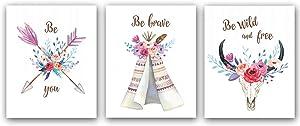 "Nursery Art, Boho Tribal Art Print,Makeup Wall Art Prints,Arrow flower Tent Nursery Canvas Wall Art, Art original style poster for children's room girl's bedroom Decor, Set of 3 (8""X 10""inch,No Frame"