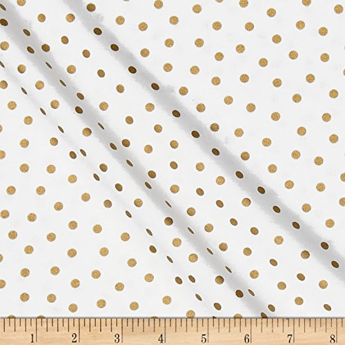 CAMELOT Fabrics 0493417 Mixology Luxe Dotted White & Gold Metallic Fabric by The Yard -