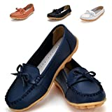 Earsoon Slip On Leather Loafers Women - 2017 New Exclusive Series … (9.5, Dark Blue) | amazon.com