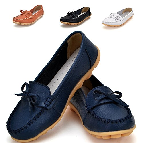 Earsoon Slip On Leather Loafers Women - 2017 New Exclusive Series … (7.5, Dark Blue)