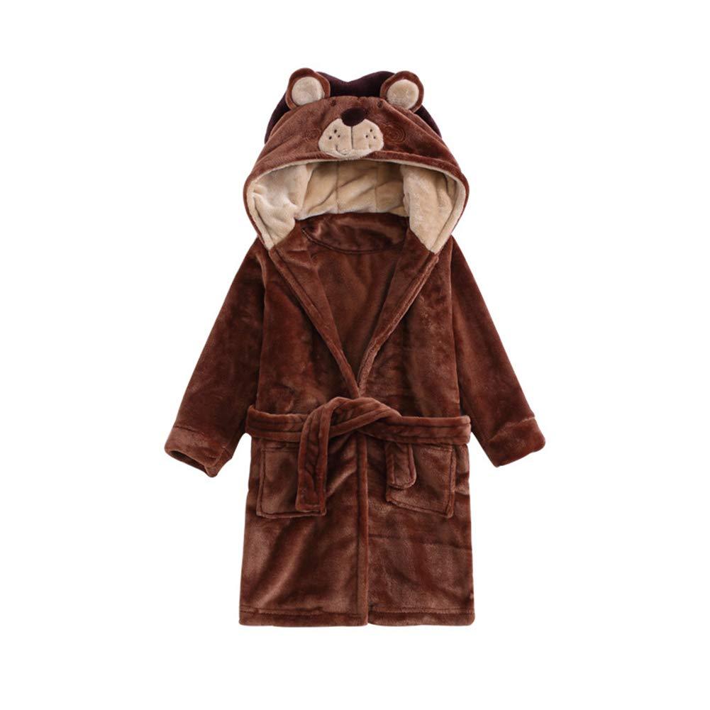 Toddler Baby Bathrobes for Boys Girls Soft Flannel Robe Kid Hooded Sleepwear 3-11t Kimjun ETYP-17