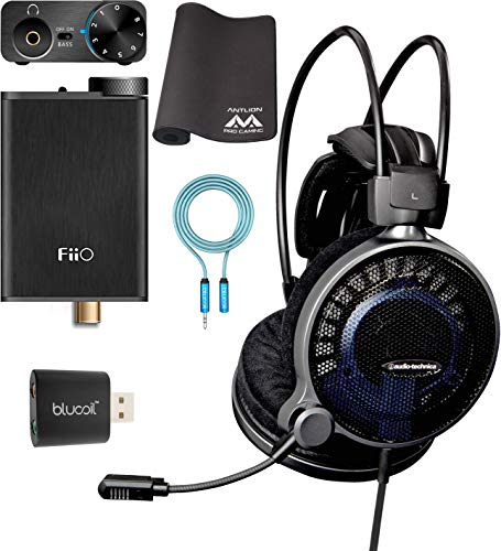Audio-Technica ATH-ADG1X High-Fidelity Gaming Headset Bundle with FiiO E10K Black USB DAC and Headphone Amplifier, Antlion Audio Wide Mousepad, Blucoil USB Soundcard, and 6' 3.5mm Extension Cable